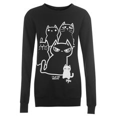 New Breed Womens Cat Printed Sweater Ladies Long Sleeve Crew Neck Top Sweat
