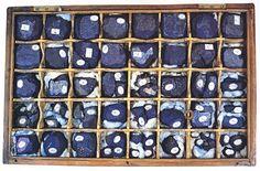 Sample box of 40 types of indigo from India, Java & Guatemala.