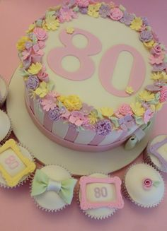 Pretty, 80th birthday cake collection   www.vintagehousebakery.co.uk