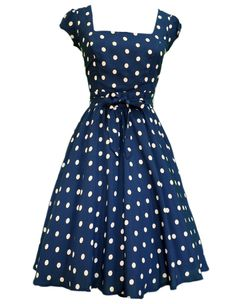 A classic: Navy Blue & White Polka Dot Swing Dress, Lady V London.