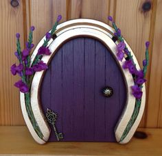 Lucky heather horseshoe fairy faery door