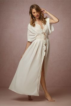 Lila Lace Robe in Lingerie Chemises & Robes at BHLDN_Honeymoon