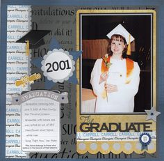 Graduation page from my school days I am completing about my school years I am using Valerie Salmon s Got Sketch Ultimate School Album class as a springboard for my layouts and the title was cut on my Silhouette Cameo The school paper is paper I have had Graduation Scrapbook, Graduation Gifts, Graduation Ideas, School Scrapbook Layouts, Scrapbooking Layouts, Scrapbook Paper Crafts, Scrapbook Cards, Scrapbook Cover, School Days