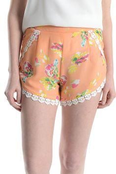 Ladies Woven Lace Trim Floral Shorts