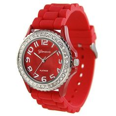 121 Collection - Geneva Rhinestone Rubber Watch -- Red - - A unique... ❤ liked on Polyvore featuring jewelry, watches, accessories, bracelets, red, charm jewelry, rhinestone charms, red rhinestone jewelry, red jewellery and rubber jewelry
