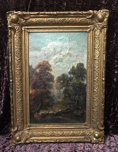 19th Century  high quality oil painting European landscape antique gold frame #Impressionism
