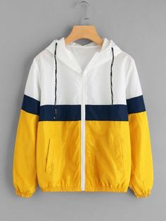 To find out about the Color Block Elastic Waist Drawstring Jacket at SHEIN, part of our latest Jackets ready to shop online today! Windbreaker Jacket, Hooded Jacket, Yellow Windbreaker, Fashion Mode, Fashion Outfits, Fast Fashion, Fashion Online, Velvet Bomber Jacket, Bomber Jackets