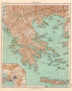 Χάρτης ελλάδας αντίκα ΚΩΔ. GR04. Σε Poster σε Αυτοκόλλητο σε Καμβά ή Foam Board Vintage Wall Art, Vintage Walls, Greece Map, Athens, Vintage World Maps, Products, Rice, Athens Greece, Gadget