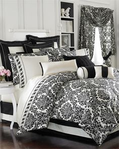 black & white damask bedroom set! LOVE this print!
