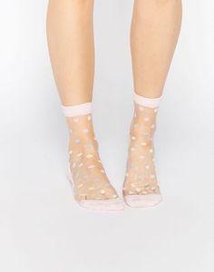 ASOS - Socquettes pastel transparentes à pois