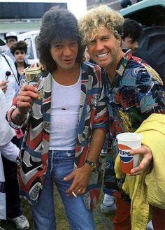 Eddie Van Halen and Sammy Hagar at Farm Aid 1985
