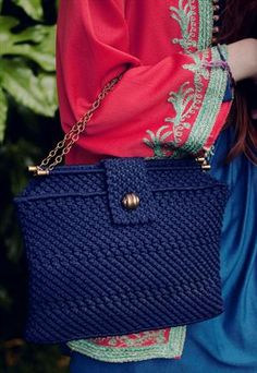1960's navy knitted bag with gold chain