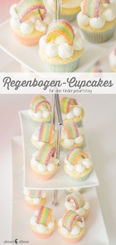 Little rainbow cupcakes for the unicorn party - Schnin& K .- Kleine Regenbogen-Cupcakes für die Einhornparty – Schnin's Kitchen Small rainbow cupcakes for the children& birthday or the next unicorn party. Fluffy vanilla dough with fast butter cream. Cupcakes Arc-en-ciel, Rainbow Cupcakes, Wedding Cakes With Cupcakes, Unicorn Cupcakes, Cupcake Fondant, Birthday Cupcakes, Full Moon Party, Food Cakes, Savoury Cake
