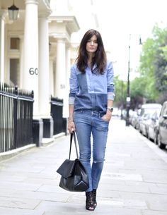 Hedvig Opshaug casual cool in denim combo: Jeans by Koral, shirt and bag by Céline, lace booties by Dolce & Gabbana #StreetStyle