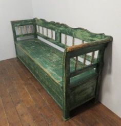 Antique Pine Farmhouse Box Settle / Bench With Storage Bench With Storage, Storage Benches, Bed Bench, Antique Photos, Pine, Farmhouse, Cottage, Dressing Table, Chair