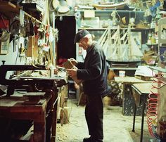 As a child I saw scenes like this all the time.  These days, who still has a workshop?  I find it a bit sad