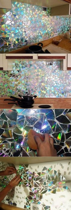 30 Ideas Kitchen Backsplash Diy Glass For 2019 Cd Crafts, Diy And Crafts, Cd Art, Art Diy, Mosaic Art, Mosaic Mirrors, Craft Projects, Craft Ideas, Diy Home Decor