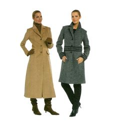 Womens COAT PATTERN Classic Coats Long Winter Coat Notched Lapel & Back Walking Slit Size 6 - 18 Burda 7855 UNCuT Womens Sewing Patterns by DesignRewindFashions on Etsy