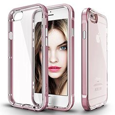 """iPhone 6/6S Case (4.7"""") Luxury Hybrid Crystal Clear Back With Soft Rose Gold Sides + Free Screen Protector (iPhone 6/6S Clear Rose Gold)"""