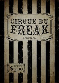 Cirque Du Freak Poster, Gothic Poster, Circus Poster, Carnival Poster, Freakshow, Size:16.5 Inch X 11.7 Inch, Art Print, Unframed