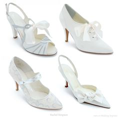 Pretty bows and embroidery galore - vintage inspired shoes to match your wedding gown by Rachel Simpson