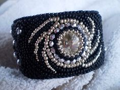 Galaxy   Bead embroidered bracelet OOAK    EBWC by Vicus on Etsy, $100.00