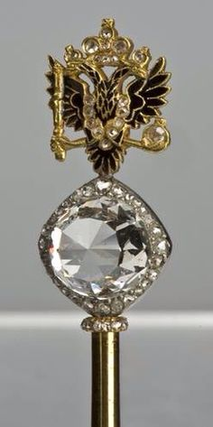 The head of Catherine the Great's Spector. It has one of the biggest diamonds in the world. Catherine's favorite Orlov presented her with this diamond.