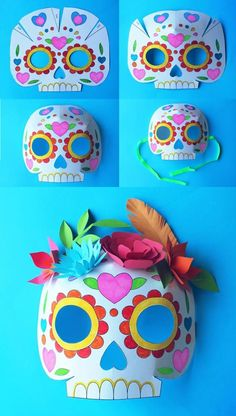 Download 3 printable color in templates + Day of the Dead careta mask instructions: Add paper flowers or some paper leaves to complete your own mask design! happythought.co.u...