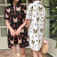 """Kawaii cat printing dress SE10350      Coupon code """"cutekawaii"""" for 10% off"""