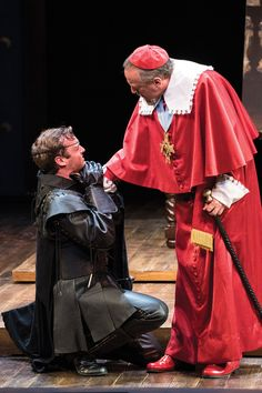 Jack Lafferty (left) as Rochefort and Peter Lohnes as Cardinal Richelieu in the Utah Shakespeare Festival's 2016 production of The Three Musketeers. (Photo by Karl Hugh. Copyright Utah Shakespeare Festival 2016.) @utahshakespeare #3musketeers