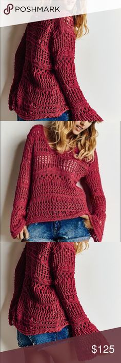 Crochet Blouse Morena Rosa crochet Blouse. High end Brazilian brand and very well designed. Various sizes available. Please note that color is burgundy but there is no option to set it the correct color. Morena Rosa Tops Blouses