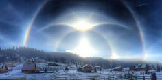 Ice halo phenomena including rare suncave and sunvex Parry arcs, helic arcs, and intense supralateral and infralateral arcs. A rare 'ice halo' was seen above New Mexico has as the arctic blast. New Mexico, 4k Photography, Better Photography, Arctic Blast, Sky New, Sunrise Pictures, 3d Art, Today Images, Sun Dogs