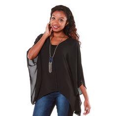 Hadari Women's Black Sheer V-neck Blouse