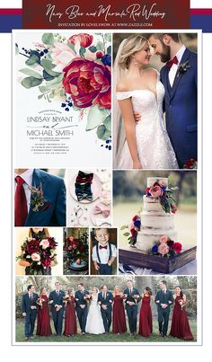 Wedding Color Schemes Discover Marsala Red and Navy Blue Wedding Ideas The most gorgeous navy blue burgundy red and blush floral wedding invitations Burgundy Wedding Colors, Winter Wedding Colors, Navy Blue Wedding Theme, Fall Wedding Themes, November Wedding Colors, Cranberry Wedding Colors, Military Wedding Colors, Navy Tux Wedding, Autumn Wedding Ideas
