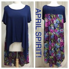 ITS HERE! PLUS SIZE NAVY/FLORAL CHIFFON TOP! It's Here! From April Spirit! PLUS SIZE NAVY/FLORAL CHIFFON HI-LO TOP!  I only have Four of these, 3 in XL, and 1 in XXL. Please comment as to which size you need. More details in photo #2 above. So pretty and perfect for Spring ✅Price firm unless bundled✅ April Spirit Tops Tunics