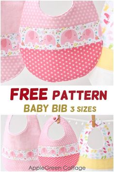 Baby bib pattern in 3 sizes, easy and quick to sew. Get your free baby bib pattern now and make the cutest bib for a baby or toddler! Baby Bibs Patterns, Easy Sewing Patterns, Pattern Sewing, Sewing Tutorials, Sewing Ideas, Baby Sewing Projects, Sewing For Kids, Free Sewing, Silhouette Cameo
