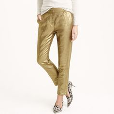 Ludlow pant in gold linen.