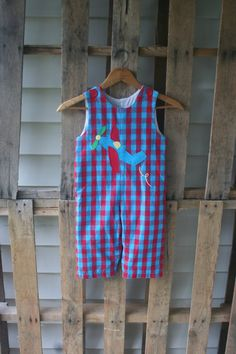 Vintage Red & Blue Plaid Romper with Airplane by by vintapod
