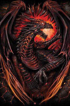 Empire Merchandising 662989 Spiral, Dragon Furnace, Fantasy, Maxi-Poster, Druck, Poster Gemälde Gothic Scull Totenkopf, Größe 61 x 91,5 cm