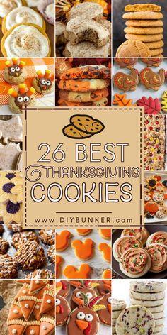 Acorn Cookies, Cinnamon Sugar Cookies, Pumpkin Sugar Cookies, Turkey Cookies, Thanksgiving Cookies, Thanksgiving Side Dishes, Thanksgiving Recipes, Mini Pumpkin Pies, Baked Pumpkin