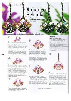 Free Beading Tutorials, Beading Patterns Free, Jewelry Making Tutorials, Beading Projects, Jewelry Patterns, Beaded Earrings, Beaded Jewelry, French Beaded Flowers, Earring Tutorial