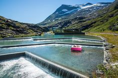 Wonderland beds supporting the Pink Ribbon Campaign in Norway. Photo from Trollstigen Mountain Road, 15 minutes drive from our factory in Åndalsnes, Norway. Wonderland, New Beds, Norway, Campaign, Ribbon, Mountain, River, Outdoor Decor, Pink