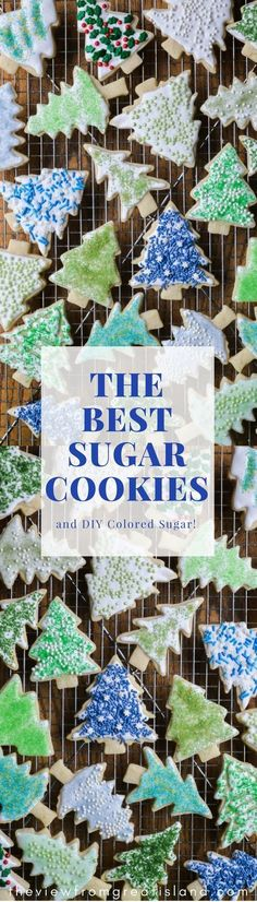 These quick and easy Holiday Sugar Cookies with royal icing and DIY colored sugar- kid project