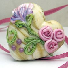i love this bead lampwork glass heart bead flower focal pink lavender