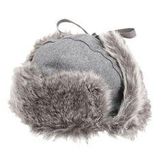 - caciula ruseasca Kangol Wool Ushanka gri, unisex  - garnituri gri, din blana sintetica - protectii pentru urechi, ce pot fi fixate sau purtate pe urechi - inchidere cu siret - personalizata cu logo
