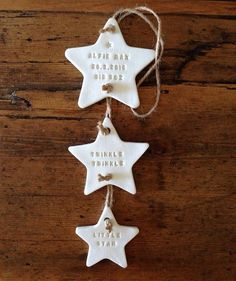 Twinke Twinkle: three star clay decoration with by TwoAndBoo The post Personalised new baby gift / clay star / Twinkle Twinkle / nursery decoration / nursery decor appeared first on Kinderzimmer Dekoration. Xmas Crafts, Baby Crafts, Baby Christmas Crafts, Christmas Lyrics, Christmas Clay, Christmas Ornaments, Salt Dough Christmas Decorations, Salt Dough Ornaments, Salt Dough Crafts
