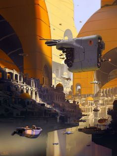 Pendul City 2D digital sci-fi illustration created in Photoshop by Sparth (Nicolas Bouvier)