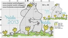 "Photo from album ""Schemi - Natalia/ Схемы - Natalia"" on Yandex. Diy Embroidery, Cross Stitch Embroidery, Embroidery Patterns, Knitting Charts, Knitting Patterns, Cross Stitch Designs, Cross Stitch Patterns, Les Moomins, Mini Cross Stitch"