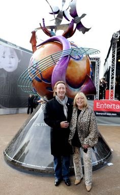 Julian and Cynthia Lennon unveil Eurpean Peace Monument in memory of John Lennon in Liverpool's Chavasse Park.