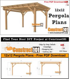 12x12 pergola plans PDF download includes drawings measurements and material list. Free DIY projects with step-by-step instructions. ... to keep us cool and to keep us from being burnt by the sun.But don't be mistaken. There is no need to cover ourselves completely. The key is in usin... there are other benefits as well. Many of us like to bring some life to our patio with potted evergreens and house plants but risk losing them if th #diy.diypergoladesigns.com #landscape-pergola-plans #pergolas Metal Pergola, Wooden Pergola, Backyard Pergola, Patio Roof, Metal Roof, Cheap Pergola, Pergola Roof, Covered Pergola, Patio Plan